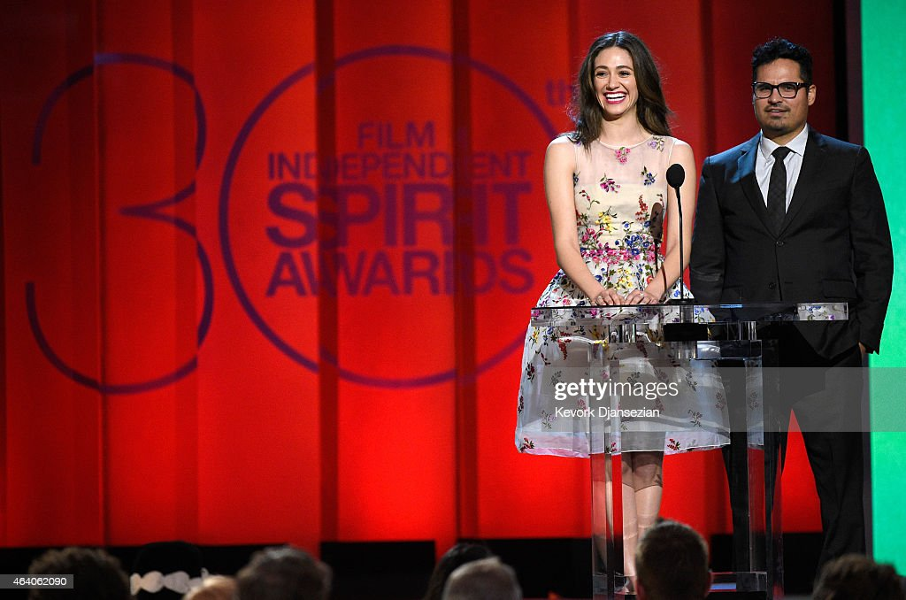 Actors Emmy Rossum and Michael Pena speak onstage during the 2015 Film Independent Spirit Awards at Santa Monica Beach on February 21 2015 in Santa...