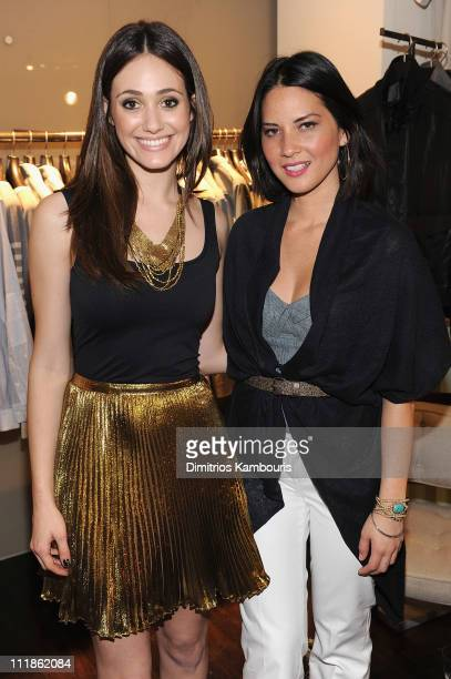 Actors Emmy Rossum and Olivia Munn attend Elie Tahari's Emmy Bag Launch Benefiting Safe Horizon at the Elie Tahari Boutique Soho on April 7 2011 in...