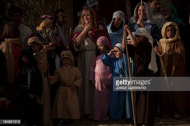 Actors enact the Passion of Jesus Christ to mark Easter during the Holy Week in Istan near to Malaga on March 29 2013 Christian believers around the...