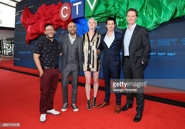 Actors Ennis Esmer Rainbow Sun Francks Lauren Lee Smith Craig Olejnik and Anthony Lemke of The Listener attends the CTV 2014 Upfront at Sony Centre...