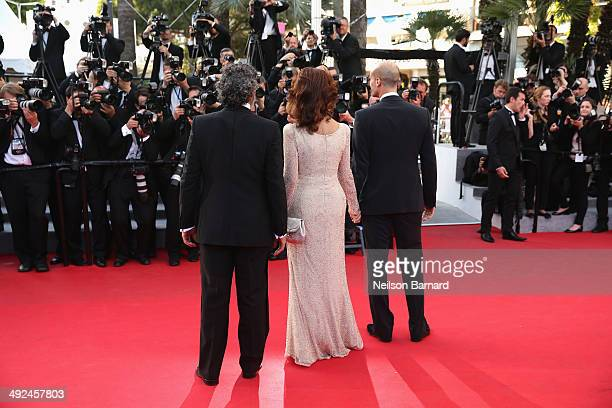 Actors Enrico Lo Verso Sophia Loren and director Edoardo Ponti attend the Premiere of 'Voce Umana' at the 67th Annual Cannes Film Festival on May 20...