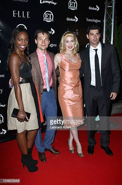 Actors Enuka Okuma Gregory Smith Charlotte Sullivan and Travis Milne attend ET Canada's Red Carpet Event at Spice Route during the 2011 Toronto...