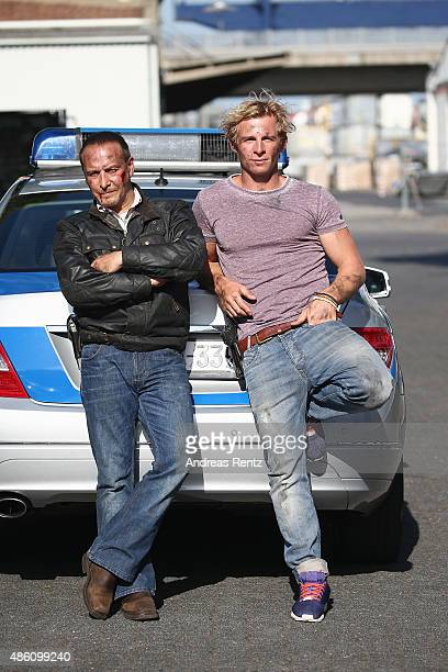 Actors Erdogan Atalay and Daniel Roesner pose for a portrait during the photocall for the action series 'Alarm Fuer Cobra 11' on August 31 2015 in...