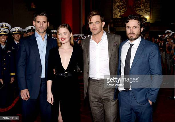 Actors Eric Bana Holliday Grainger Chris Pine and Casey Affleck arrive at the premiere of Disney's 'The Finest Hours' at the TCL Chinese Theatre on...