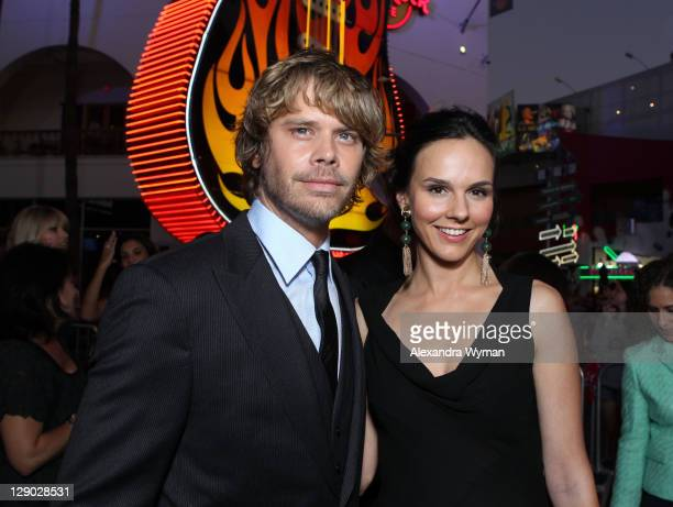 Actors Eric Christian Olsen and Kim Bubbs arrive at 'The Thing' Los Angeles Premiere held at The AMC Universal City Walk on October 10 2011 in...