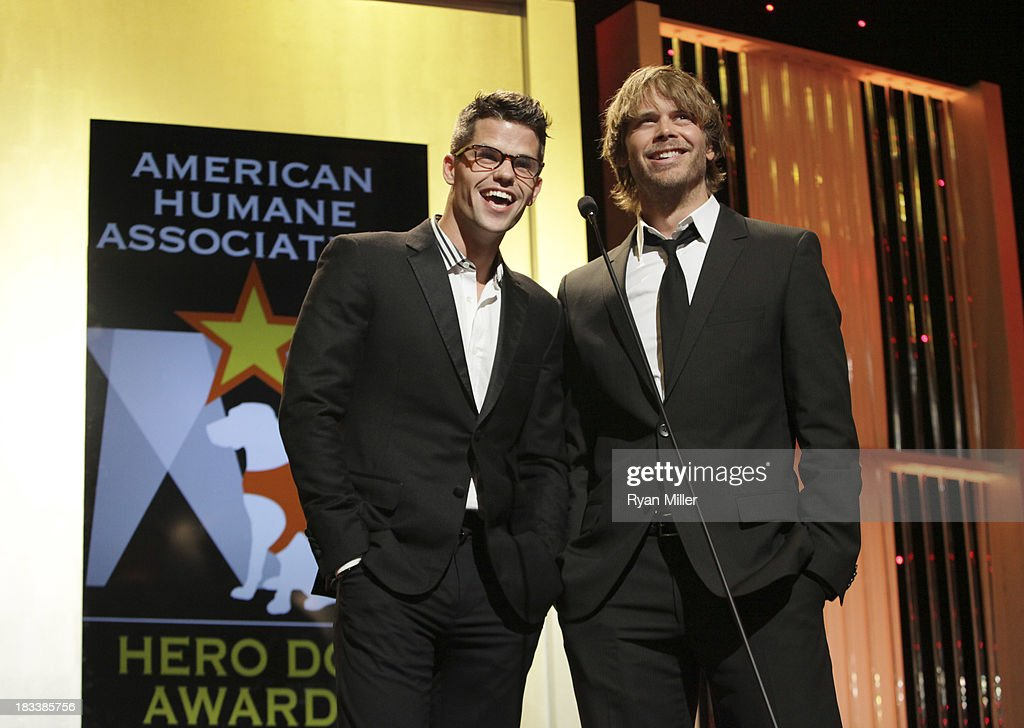 Actors <a gi-track='captionPersonalityLinkClicked' href=/galleries/search?phrase=Eric+Christian+Olsen&family=editorial&specificpeople=549583 ng-click='$event.stopPropagation()'>Eric Christian Olsen</a> (L) and Max Carver (R) speak during the American Humane Association Hero Dog Awards 2013 held at the Beverly Hilton Hotel on Saturday, Oct. 5, 2013, in Beverly Hills, California.