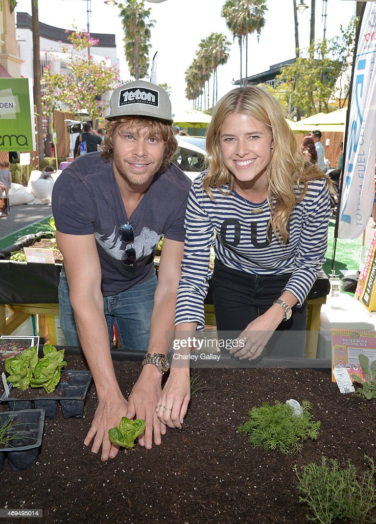 Actors Eric Christian Olsen and Sarah Wright attend the world premiere Of Disney's 'Monkey Kingdom' at Pacific Theatres at The Grove on April 12 2015...