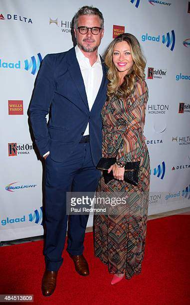 Actors Eric Dane and Rebecca Gayheart arriving at the 25th Annual GLAAD Media Awards at The Beverly Hilton Hotel on April 12 2014 in Beverly Hills...