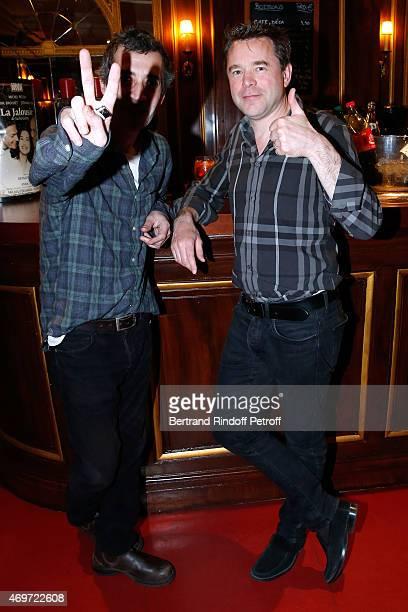 Actors Eric Elmosnino and Guillaume de Tonquedec attend 'Un Diner d'Adieu' 200th Show at Theatre Edouard VII on April 14 2015 in Paris France