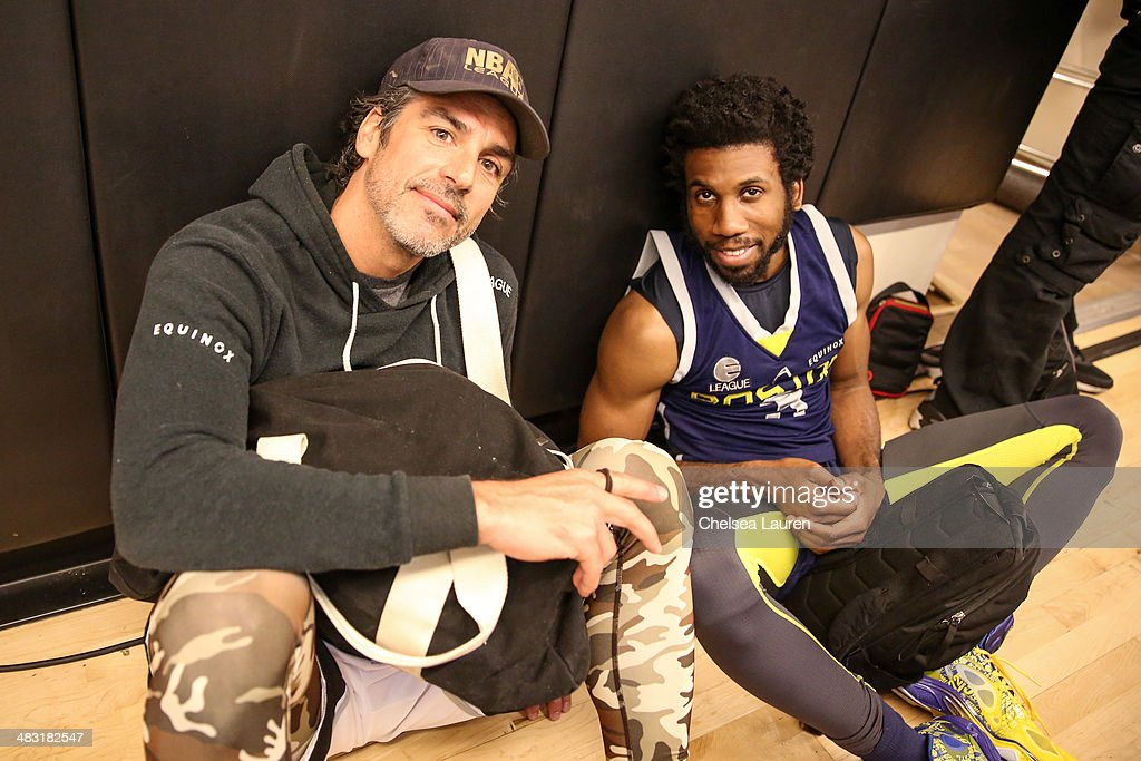 Actors Eric Etebari (L) and Nyambi Nyambi attend the E-League celebrity basketball game at Equinox Sports Club West LA on April 6, 2014 in Los Angeles, California.