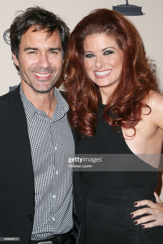Actors Eric Mccormack (L) and <a gi-track='captionPersonalityLinkClicked' href=/galleries/search?phrase=Debra+Messing&family=editorial&specificpeople=202114 ng-click='$event.stopPropagation()'>Debra Messing</a> arrive at 'An Evening Honoring James Burrows' at Academy of Television Arts & Sciences on October 7, 2013 in North Hollywood, California.