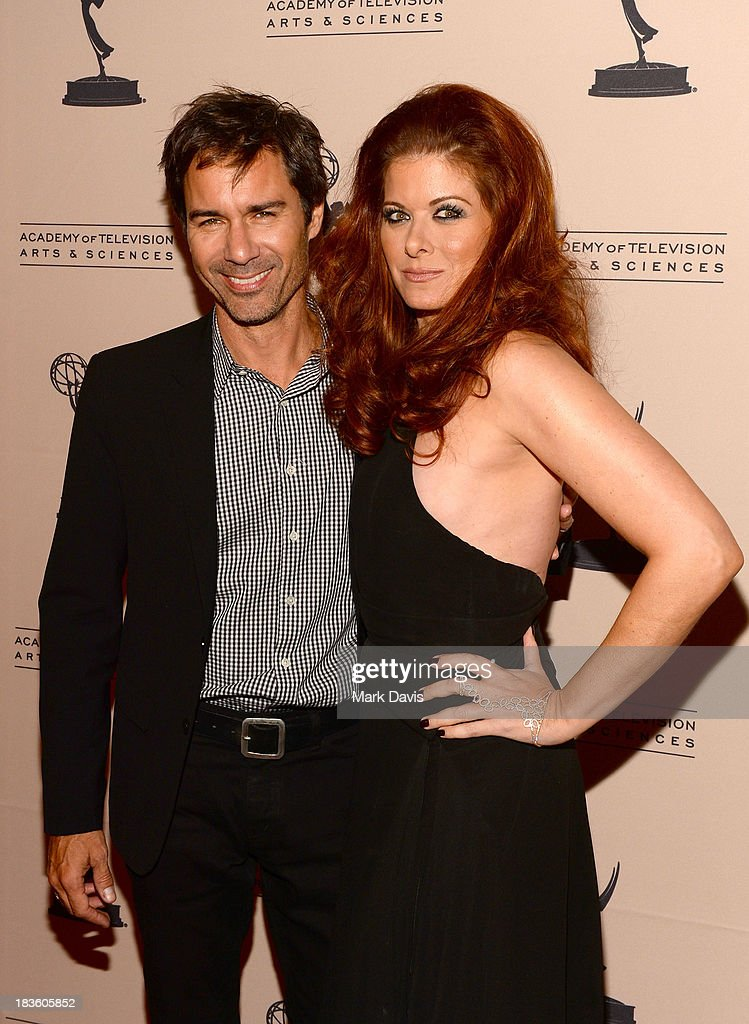 Actors <a gi-track='captionPersonalityLinkClicked' href=/galleries/search?phrase=Eric+McCormack&family=editorial&specificpeople=202857 ng-click='$event.stopPropagation()'>Eric McCormack</a> (L) and <a gi-track='captionPersonalityLinkClicked' href=/galleries/search?phrase=Debra+Messing&family=editorial&specificpeople=202114 ng-click='$event.stopPropagation()'>Debra Messing</a> attend The Academy Of Television Arts & Sciences' Presents An Evening Honoring James Burrows held at the Academy of Television Arts & Sciences on October 7, 2013 in North Hollywood, California.