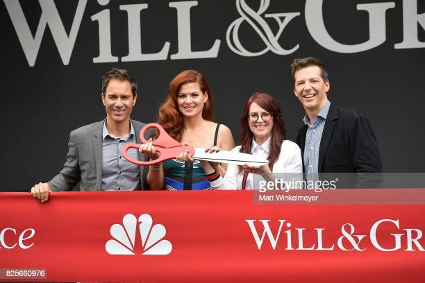 Actors Eric McCormack Debra Messing Megan Mullally and Sean Hayes attend the 'Will Grace' ribbon cutting Ceremony on August 2 2017 in Los Angeles...