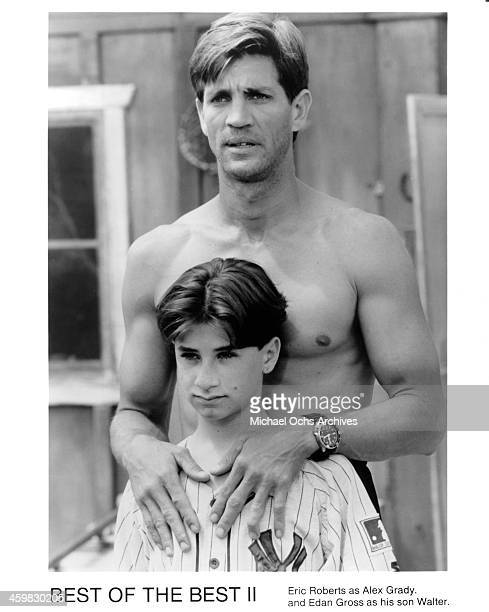 Actors Eric Roberts and Edan Gross on set of the movie 'Best of the Best 2' circa 1993