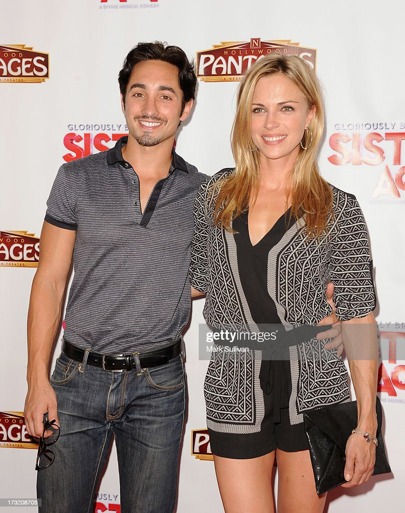 Actors Eric Schneider and Kelly Sullivan attend the premiere of 'Sister Act' at the Pantages Theatre on July 9, 2013 in Hollywood, California.