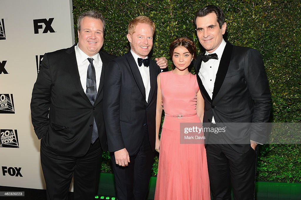 Actors <a gi-track='captionPersonalityLinkClicked' href=/galleries/search?phrase=Eric+Stonestreet&family=editorial&specificpeople=6129010 ng-click='$event.stopPropagation()'>Eric Stonestreet</a>, <a gi-track='captionPersonalityLinkClicked' href=/galleries/search?phrase=Jesse+Tyler+Ferguson&family=editorial&specificpeople=633114 ng-click='$event.stopPropagation()'>Jesse Tyler Ferguson</a>, <a gi-track='captionPersonalityLinkClicked' href=/galleries/search?phrase=Sarah+Hyland&family=editorial&specificpeople=3989646 ng-click='$event.stopPropagation()'>Sarah Hyland</a>, and <a gi-track='captionPersonalityLinkClicked' href=/galleries/search?phrase=Ty+Burrell&family=editorial&specificpeople=700077 ng-click='$event.stopPropagation()'>Ty Burrell</a> attend the Fox And FX's 2014 Golden Globe Awards Party on January 12, 2014 in Beverly Hills, California.
