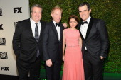 Actors Eric Stonestreet Jesse Tyler Ferguson Sarah Hyland and Ty Burrell attend the Fox And FX's 2014 Golden Globe Awards Party on January 12 2014 in...