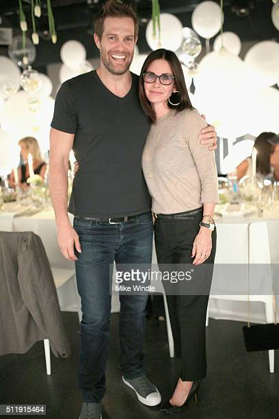 Actors Eric Stults and Courtney Cox attend smartwater sparkling celebrates Jennifer Aniston and St Jude's Children's Hospital at W Hollywood on...