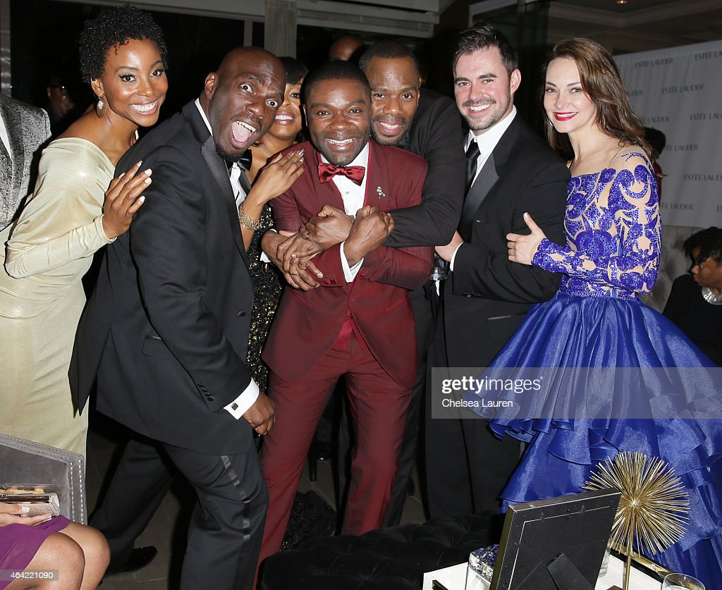 Actors <a gi-track='captionPersonalityLinkClicked' href=/galleries/search?phrase=Erica+Ash&family=editorial&specificpeople=5438567 ng-click='$event.stopPropagation()'>Erica Ash</a>, Omar Dorsey, <a gi-track='captionPersonalityLinkClicked' href=/galleries/search?phrase=Niecy+Nash&family=editorial&specificpeople=228464 ng-click='$event.stopPropagation()'>Niecy Nash</a>, <a gi-track='captionPersonalityLinkClicked' href=/galleries/search?phrase=David+Oyelowo&family=editorial&specificpeople=633075 ng-click='$event.stopPropagation()'>David Oyelowo</a>, <a gi-track='captionPersonalityLinkClicked' href=/galleries/search?phrase=Colman+Domingo&family=editorial&specificpeople=4946383 ng-click='$event.stopPropagation()'>Colman Domingo</a>, John Lavelle and Tara Ochs attend Mercedes-Benz USA and African American Film Critics Association Academy Awards viewing party on February 22, 2015 in Los Angeles, California.