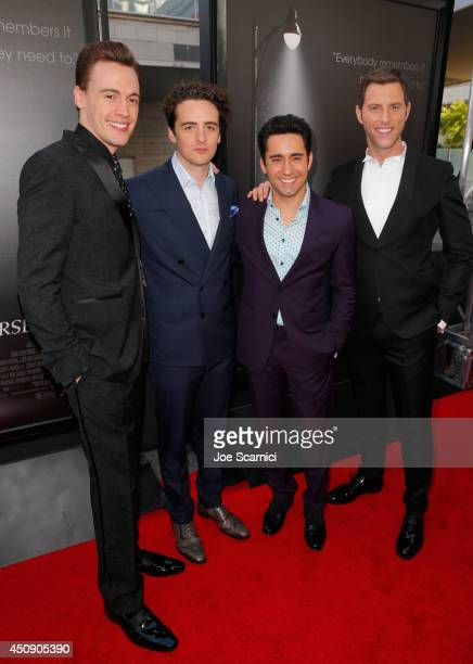 Actors Erich Bergen Vincent Piazza John Lloyd Young and Michael Lomenda attend the closing night film premiere of 'Jersey Boys' during the 2014 Los...