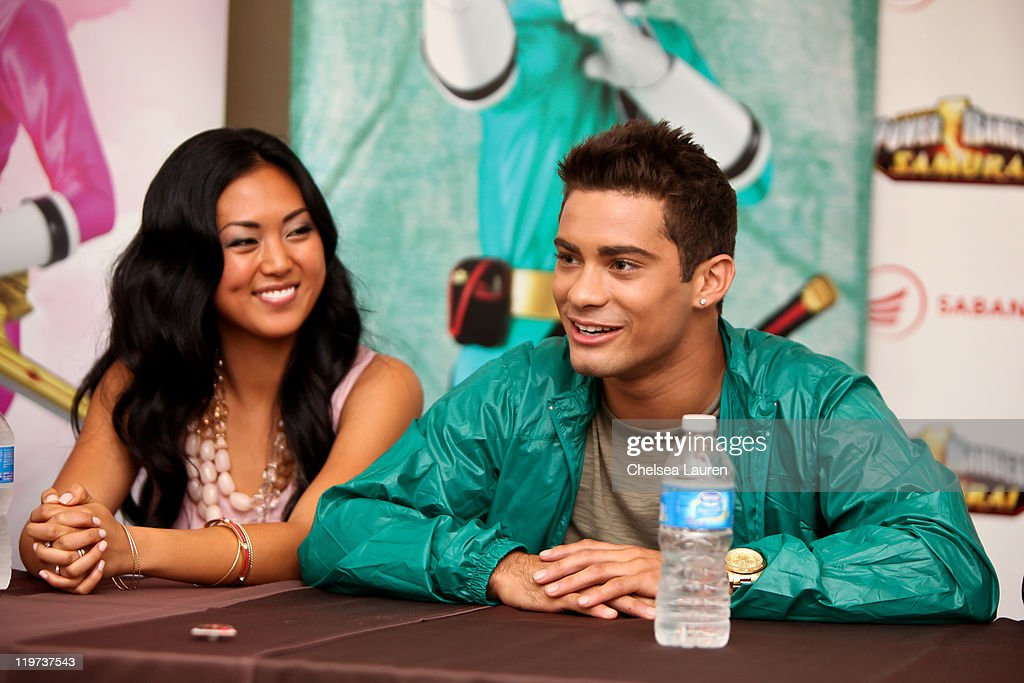 Actors Erika Fong (L) and Hector David Jr. (R) attend a press conference for Saban's Samurai Power Rangers at the 2011 San Diego Comic-Con International on July 23, 2011 in San Diego, California.