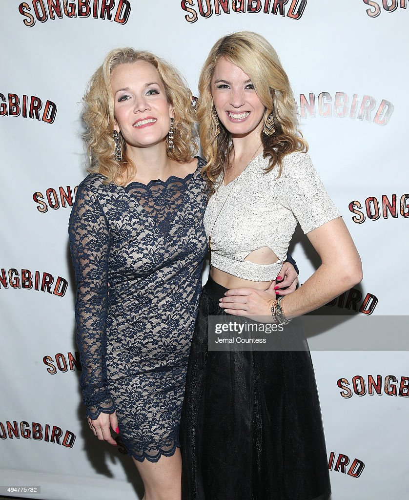 Actors Erin Dilly and Kacie Sheik attend the 'Songbird' opening night after party Johnny Utah's on October 28 2015 in New York City