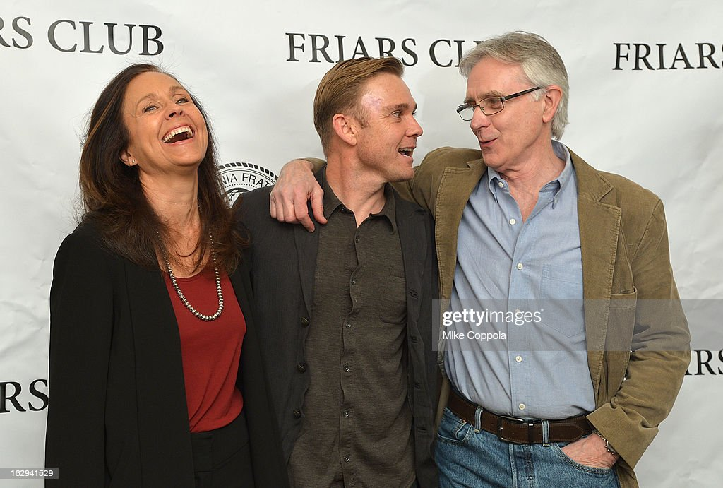 Actors Erin Gray, Ricky Schroder, and <a gi-track='captionPersonalityLinkClicked' href=/galleries/search?phrase=John+Higgins&family=editorial&specificpeople=228132 ng-click='$event.stopPropagation()'>John Higgins</a> attend The Friars Club: 'So You Think You Can Roast?' Celebrating Ricky Schroder at New York Friars Club on March 1, 2013 in New York City.
