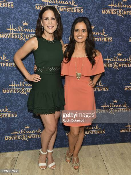 Actors Erin Krakow and Danica McKellar attend the premiere of Hallmark Movies Mysteries' 'Garage Sale Mystery' at The Paley Center for Media on...
