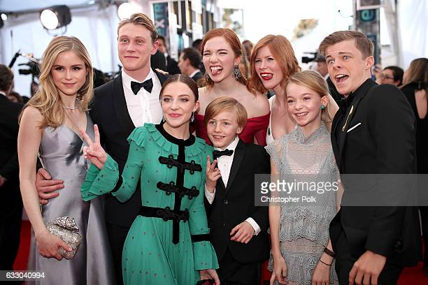 Actors Erin Moriarty George MacKay Samantha Isler Annalise Basso Charlie Shotwell Trin Miller Shree Crooks and Nicholas Hamilton attend The 23rd...