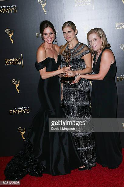Actors Erinn Hayes Lake Bell and Zandy Hartig winners of Outstanding Short Form Comedy or Drama Series in Children's Hospital poses in the 2016...