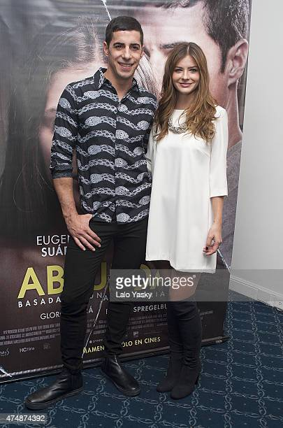 Actors Esteban Lamothe and Eugenia 'La China' Suarez attend a press conference to present 'Abzdurdah' at the Dazzler Hotel on May 27 2015 in Buenos...