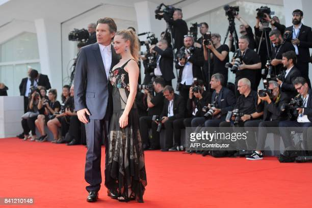 Actors Ethan Hawke and Amanda Seyfried arrive for the premiere of the movie 'First Reformed' presented in competition at the 74th Venice Film...