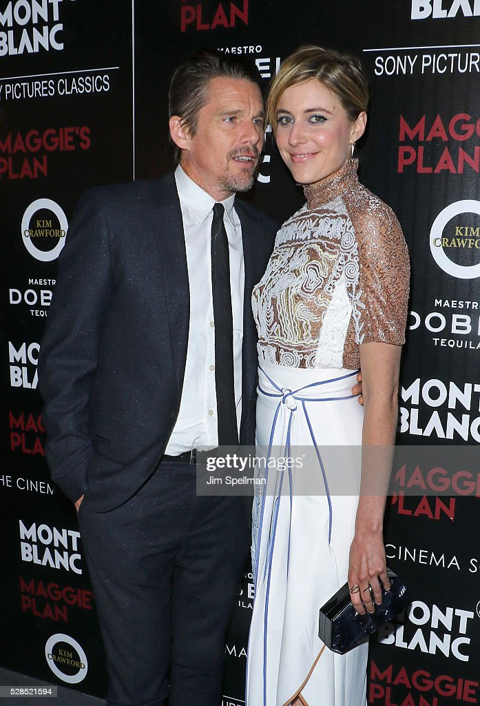 Actors <a gi-track='captionPersonalityLinkClicked' href=/galleries/search?phrase=Ethan+Hawke&family=editorial&specificpeople=178274 ng-click='$event.stopPropagation()'>Ethan Hawke</a> and <a gi-track='captionPersonalityLinkClicked' href=/galleries/search?phrase=Greta+Gerwig&family=editorial&specificpeople=4249808 ng-click='$event.stopPropagation()'>Greta Gerwig</a> attend the screening of Sony Pictures Classics' 'Maggie's Plan' hosted by Montblanc and The Cinema Society with Mastro Dobel & Kim Crawford Wines at Landmark Sunshine Cinema on May 5, 2016 in New York City.