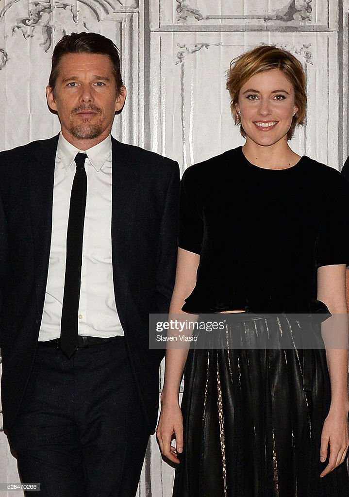 Actors <a gi-track='captionPersonalityLinkClicked' href=/galleries/search?phrase=Ethan+Hawke&family=editorial&specificpeople=178274 ng-click='$event.stopPropagation()'>Ethan Hawke</a> and <a gi-track='captionPersonalityLinkClicked' href=/galleries/search?phrase=Greta+Gerwig&family=editorial&specificpeople=4249808 ng-click='$event.stopPropagation()'>Greta Gerwig</a> visit AOL Build to talk about their new movie ''Maggies Plan' at AOL Studios In New York on May 5, 2016 in New York City.