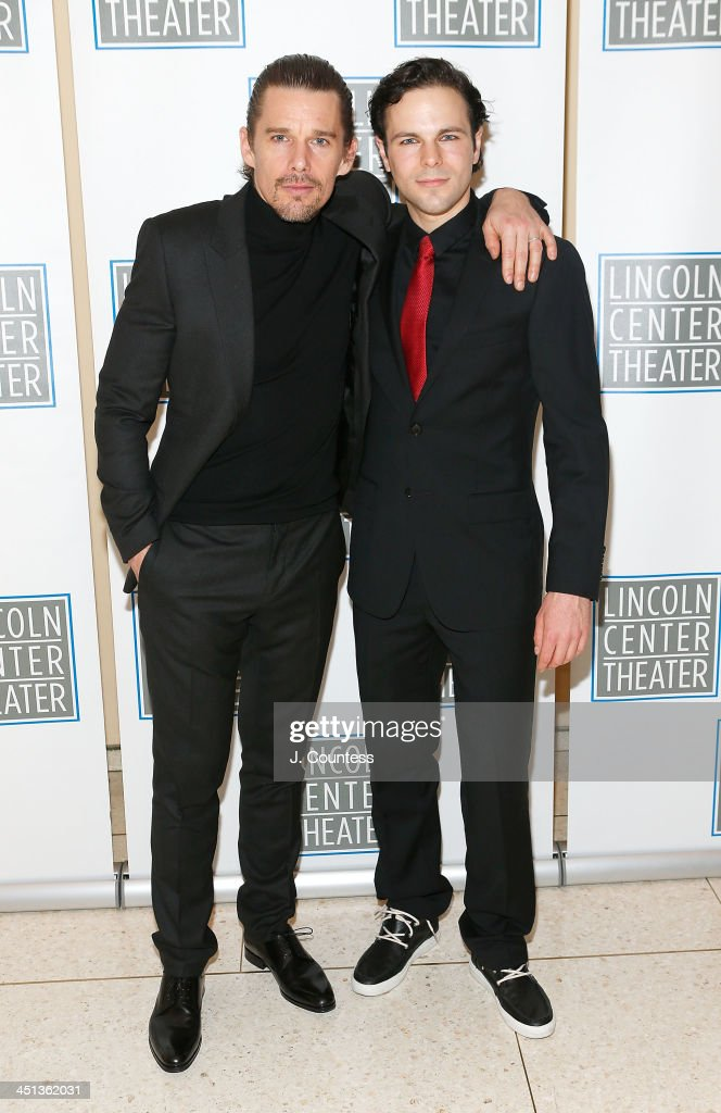Actors <a gi-track='captionPersonalityLinkClicked' href=/galleries/search?phrase=Ethan+Hawke&family=editorial&specificpeople=178274 ng-click='$event.stopPropagation()'>Ethan Hawke</a> and Jonny Orsini attend the afterparty for the opening night of 'Shakespeare's Macbeth' at Avery Fisher Hall, Lincoln Center on November 21, 2013 in New York City.