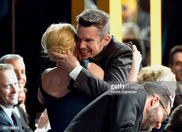 Actors Ethan Hawke and Patricia Arquette attend the 21st Annual Screen Actors Guild Awards at The Shrine Auditorium on January 25 2015 in Los Angeles...