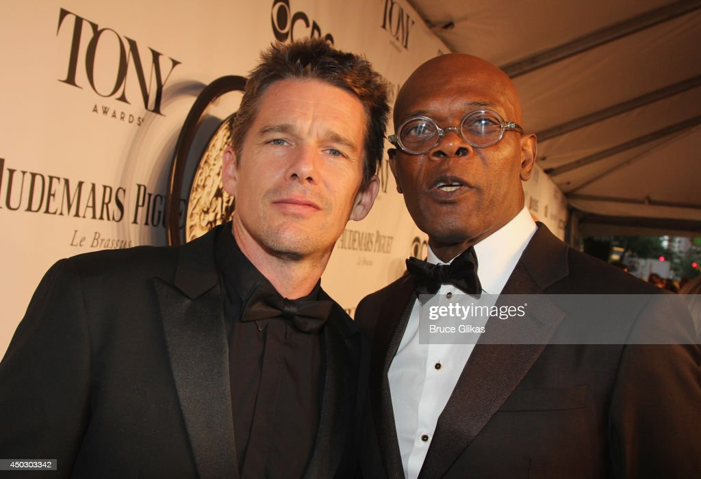 Actors <a gi-track='captionPersonalityLinkClicked' href=/galleries/search?phrase=Ethan+Hawke&family=editorial&specificpeople=178274 ng-click='$event.stopPropagation()'>Ethan Hawke</a> and <a gi-track='captionPersonalityLinkClicked' href=/galleries/search?phrase=Samuel+L.+Jackson&family=editorial&specificpeople=167234 ng-click='$event.stopPropagation()'>Samuel L. Jackson</a> attend the American Theatre Wing's 68th Annual Tony Awards at Radio City Music Hall on June 8, 2014 in New York City.
