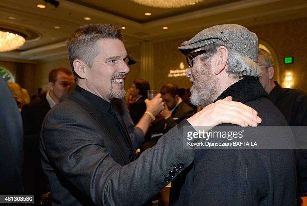 Actors Ethan Hawke and Tcheky Karyo attend the BAFTA Los Angeles Tea Party at The Four Seasons Hotel Los Angeles At Beverly Hills on January 10 2015...