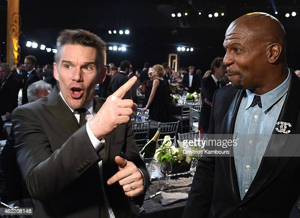 Actors Ethan Hawke and Terry Crews during TNT's 21st Annual Screen Actors Guild Awards at The Shrine Auditorium on January 25 2015 in Los Angeles...