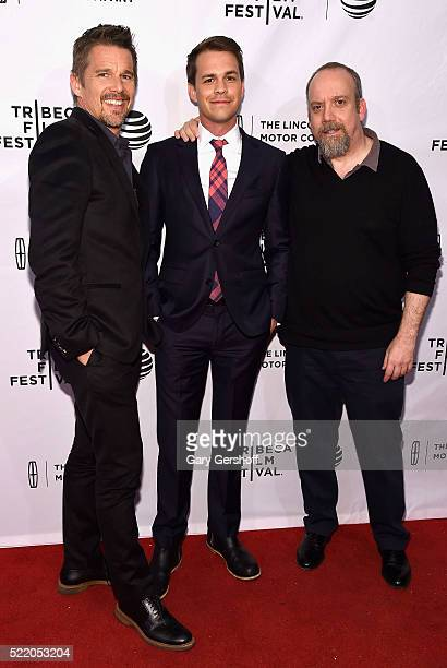 Actors Ethan Hawke Johnny Simmons and Paul Giamatti 'The Rebirth' premiere during 2016 Tribeca Film Festivalattend at SVA Theatre on April 17 2016 in...