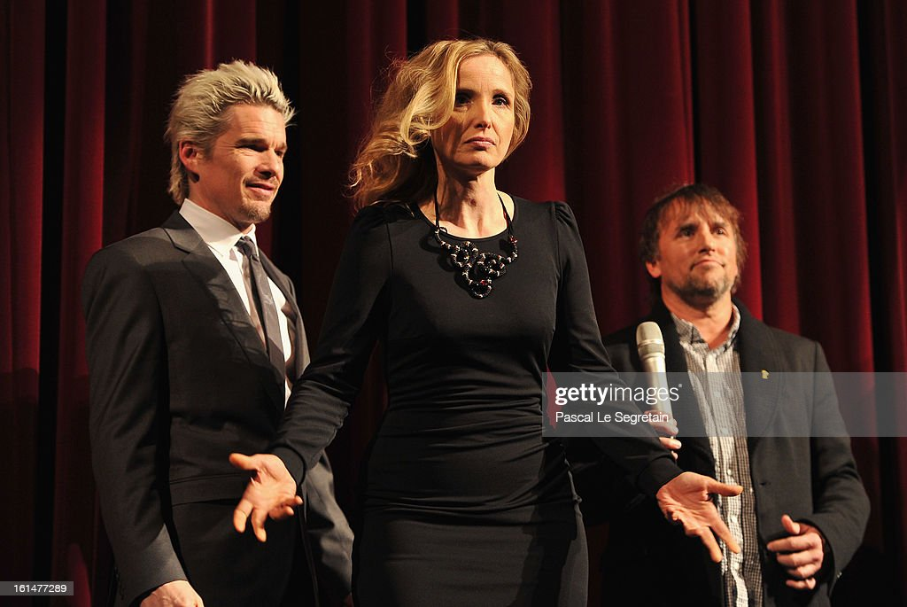 Actors Ethan Hawke, Julie Delpy and director Richard Linklater appear on stage after the 'Before Midnight' Premiere during the 63rd Berlinale International Film Festival at the Berlinale Palast on February 11, 2013 in Berlin, Germany.