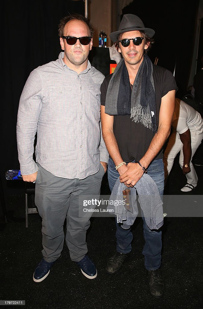 Actors Ethan Suplee and Lukas Haas backstage at the Rebecca Minkoff Spring 2014 fashion show during Mercedes-Benz Fashion Week at The Theatre at Lincoln Center on September 6, 2013 in New York City.