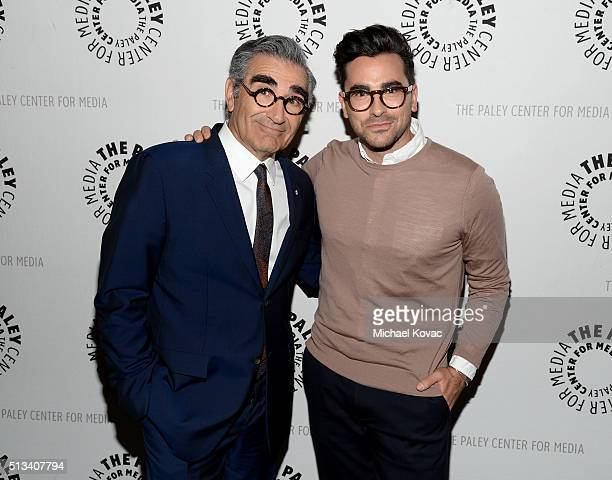 Actors Eugene Levy and Daniel Levy attend The Paley Center For Media Presents An Evening With 'Schitt's Creek' at The Paley Center for Media on March...