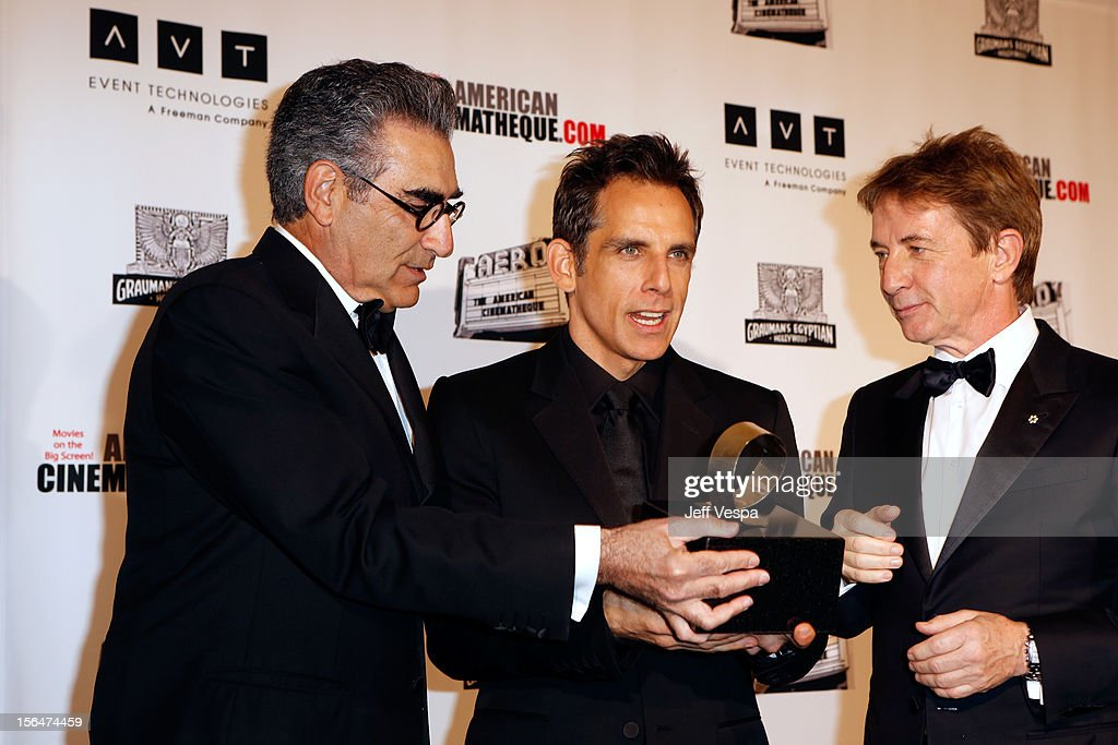 Actors <a gi-track='captionPersonalityLinkClicked' href=/galleries/search?phrase=Eugene+Levy&family=editorial&specificpeople=215201 ng-click='$event.stopPropagation()'>Eugene Levy</a>, <a gi-track='captionPersonalityLinkClicked' href=/galleries/search?phrase=Ben+Stiller&family=editorial&specificpeople=201806 ng-click='$event.stopPropagation()'>Ben Stiller</a> and <a gi-track='captionPersonalityLinkClicked' href=/galleries/search?phrase=Martin+Short&family=editorial&specificpeople=211569 ng-click='$event.stopPropagation()'>Martin Short</a> attend the 26th American Cinematheque Award Gala honoring <a gi-track='captionPersonalityLinkClicked' href=/galleries/search?phrase=Ben+Stiller&family=editorial&specificpeople=201806 ng-click='$event.stopPropagation()'>Ben Stiller</a> at The Beverly Hilton Hotel on November 15, 2012 in Beverly Hills, California.