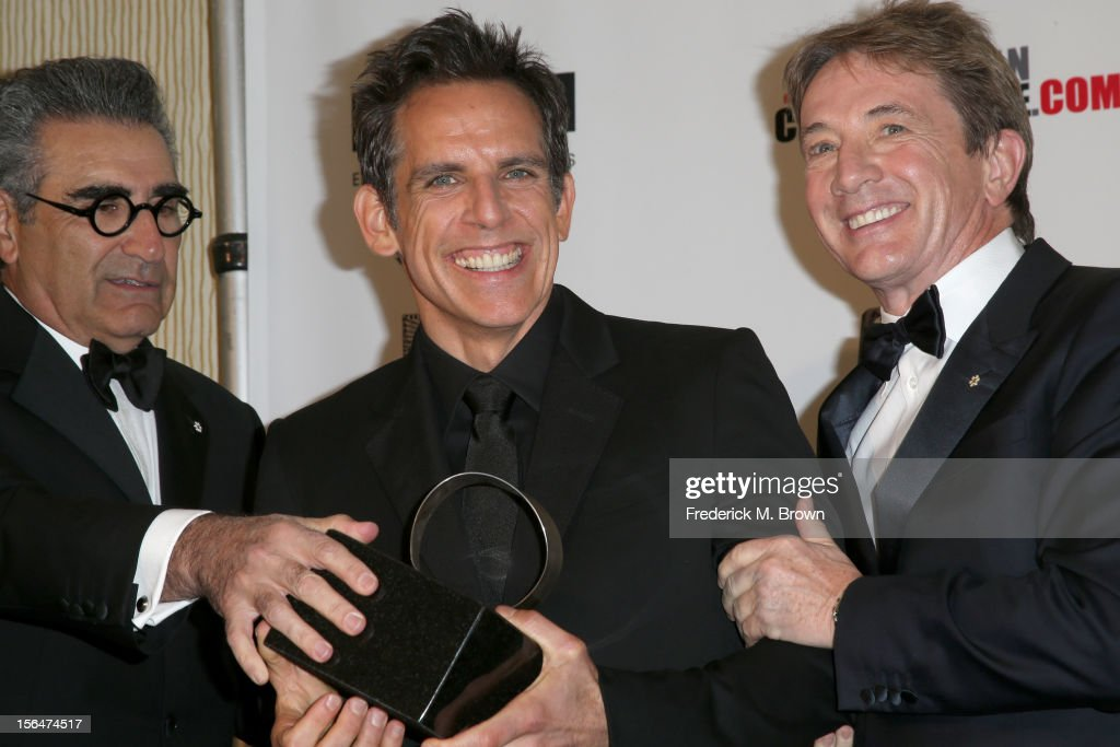 Actors <a gi-track='captionPersonalityLinkClicked' href=/galleries/search?phrase=Eugene+Levy&family=editorial&specificpeople=215201 ng-click='$event.stopPropagation()'>Eugene Levy</a>, honoree <a gi-track='captionPersonalityLinkClicked' href=/galleries/search?phrase=Ben+Stiller&family=editorial&specificpeople=201806 ng-click='$event.stopPropagation()'>Ben Stiller</a> and <a gi-track='captionPersonalityLinkClicked' href=/galleries/search?phrase=Martin+Short&family=editorial&specificpeople=211569 ng-click='$event.stopPropagation()'>Martin Short</a> pose with the American Cinematheque Award during the photo op at the the 26th American Cinematheque Award Gala honoring <a gi-track='captionPersonalityLinkClicked' href=/galleries/search?phrase=Ben+Stiller&family=editorial&specificpeople=201806 ng-click='$event.stopPropagation()'>Ben Stiller</a> at The Beverly Hilton Hotel on November 15, 2012 in Beverly Hills, California.
