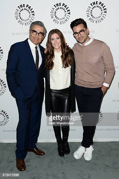Actors Eugene Levy Sarah Levy and Daniel Levy attend the Paley Center for Media presents An Evening with 'Schitt's Creek' at The Paley Center for...