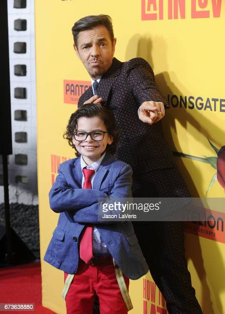 Actors Eugenio Derbez and Raphael Alejandro attend the premiere of 'How to Be a Latin Lover' at ArcLight Cinemas Cinerama Dome on April 26 2017 in...