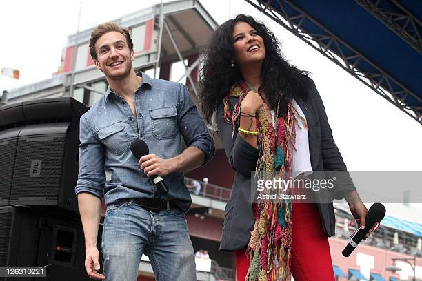 Actors Eugenio Siller and Litzy Vanya Dom'nguez Balderas attend the 2011 Telemundo Club De Noveleras Tour at South Street Seaport on September 24...