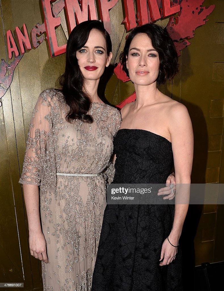 Actors Eva Green and Lena Headey attend the premiere of Warner Bros. Pictures and Legendary Pictures' '300: Rise Of An Empire' at TCL Chinese Theatre on March 4, 2014 in Hollywood, California.
