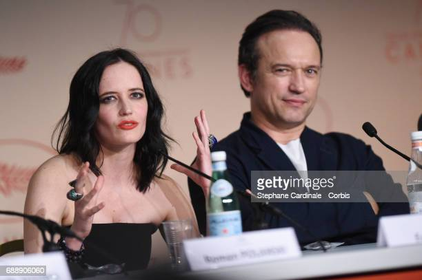 Actors Eva Green and Vincent Perez attend the 'Based On A True Story' Press Conference during the 70th annual Cannes Film Festival at Palais des...